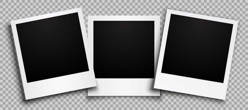 Three empty black photo frame with shadows - stock vector