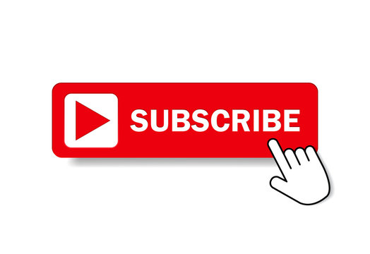 Red button subscribe of channel with hand cursor. Subscribe button in flat style. Label subscribe for video channel for website. vector