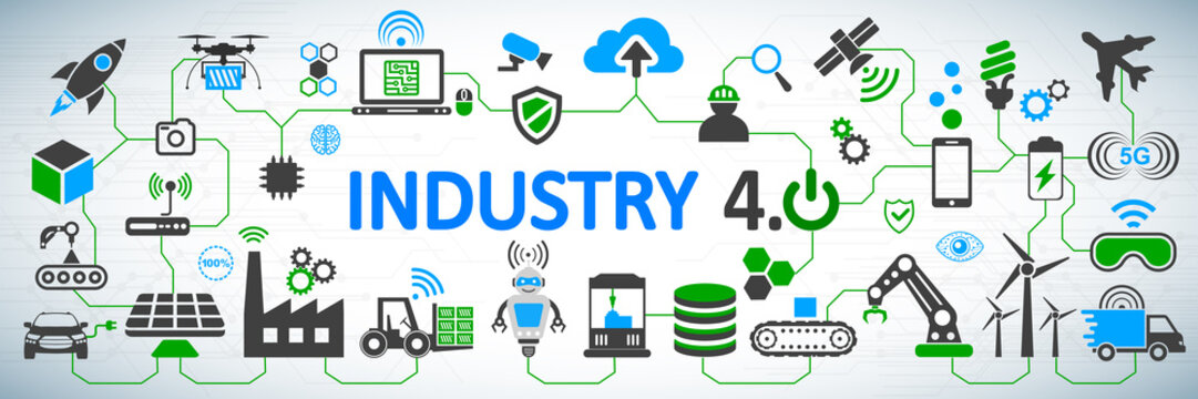 Industry 4.0 infographic concept factory of the future – vector for stock