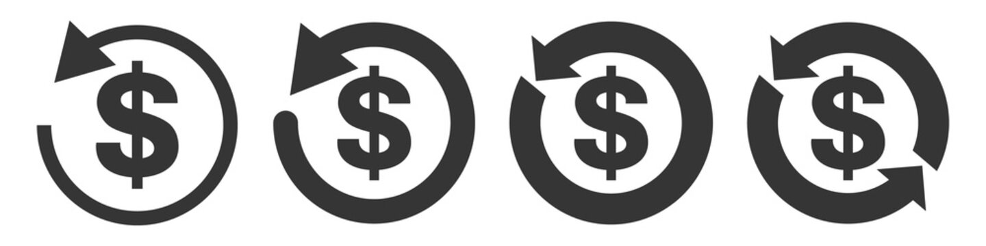 Set of vector refund money icons isolated.
