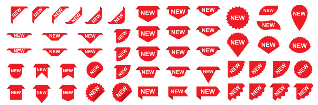 Set of New banners or stickers. Red shopping labels or tags