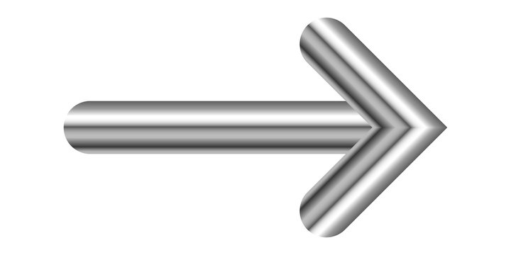 Vector metal right arrow isolated