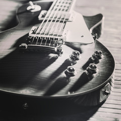 Old Vintage electric guitar body. BW image