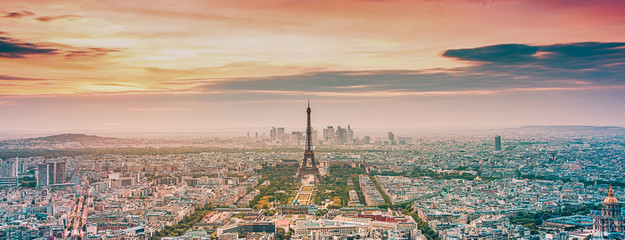Aluminium Prints Eiffel Tower aerial view over Paris at sunset with iconic Eiffel tower