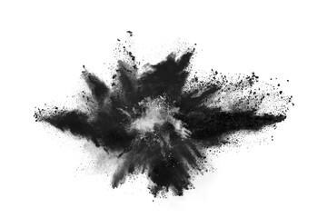 Black powder explosion white background.