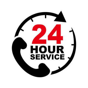 24 hour service vector design with telephone illustration