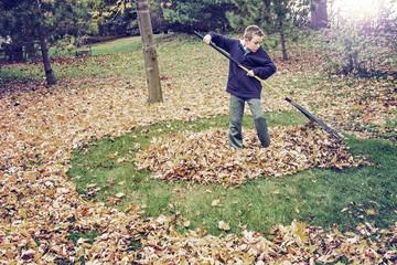 Boy raking leaves in a yard doing chores