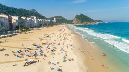 Rio de Janeiro, Rio de Janeiro / Brazil - Circa October 2019: Aerial image of Ipanema Beach in Rio de Janeiro. 4K.