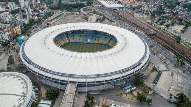 Rio de Janeiro, Rio de Janeiro / Brazil - Circa October 2019: Aerial view of legendary football stadium Maracana (Stadium Jornalista Mario Filho).