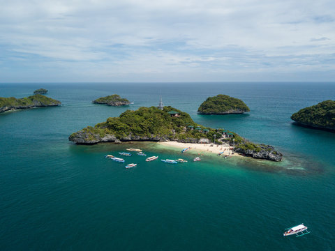 Scenic Panorama Drone Aerial Picture of Lopez Island in the Hundred Islands National Park in Pangasinan, Philippines