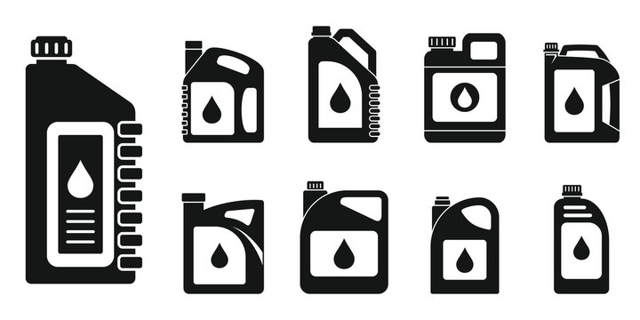 Motor oil engine icons set. Simple set of motor oil engine vector icons for web design on white background