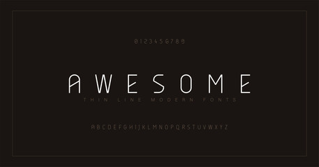 Abstract thin line font alphabet. Minimal modern fonts and numbers. Typography typeface uppercase and number. vector illustration