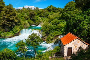 Wall Mural - Famous Krka National Park with spectacular waterfalls, Sibenik, Dalmatia, Croatia