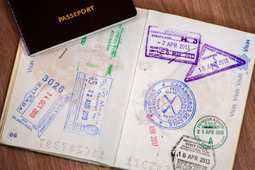 Stamps in a passport, travel life background