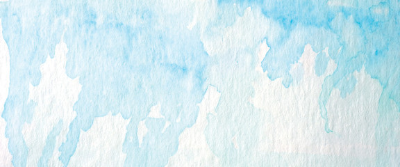 Fotobehang - Watercolor background, art abstract surface blue watercolor painting textured design on white paper background, banner, backdrop, template, poster, wallpaper
