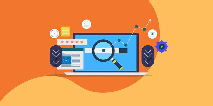 Seo strategy, website optimization for search engine ranking, digital marketing concept. Flat design web banner, presentation, template.