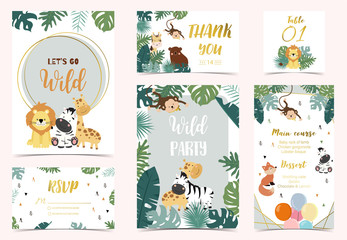 Collection of safari background set with giraffe,fox,monkey,zebra.Vector illustration for birthday invitation,postcard and sticker.Wording include let's go wild.Editable element