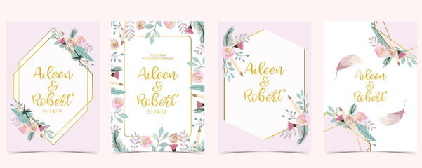 Pink green gold geometry wedding invitation with rose,flower,geometric and leaves.Vector birthday invitation for kid and baby.Editable element