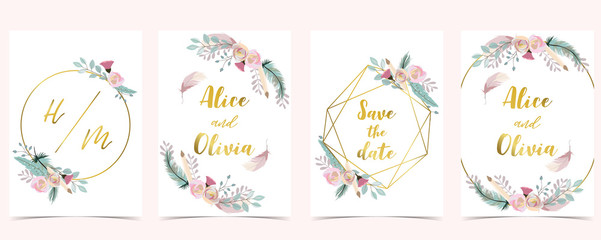 Wall Mural - Pink green gold geometry wedding invitation with rose,flower,circle and leaves.Vector birthday invitation for kid and baby.Editable element