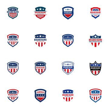 collection of American shield vector design logos