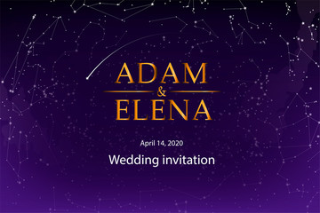 Wedding invitation template, postcards. The names of the bride and groom on the background of the starry sky