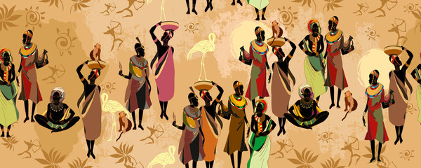 African women silhouettes in national clothes horizontal seamless pattern. Beautiful black females. Tribal art. People of South Africa, vector illustration