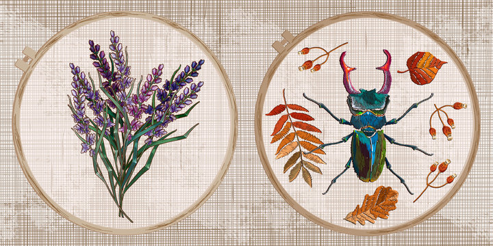 Embroidery collection. Lavender flowers bouquet and beetle deer. Autumn forest art. Template tambour frame with a canvas, elements from stitches. Art for clothes
