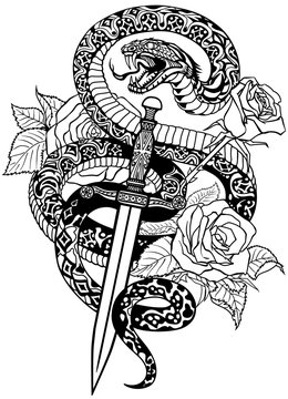 snake coiled round the roses and dagger. Angry dangerous serpent wrapped  around a sword and flowers. Tattoo style or t-shirt design. Isolated black and white vector illustration