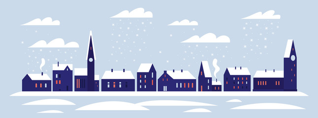 Christmas picture. Horizontal banner with the image of snowfall in the winter city. Snow-covered city with cozy nice houses and trees. Happy winter holidays. Vector colorful image.