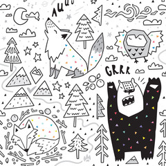 Seamless pattern of cute animals - fox, bear, owl, wolf and graphic elements in geometric style. Great for fabric, textile. Vector illustration