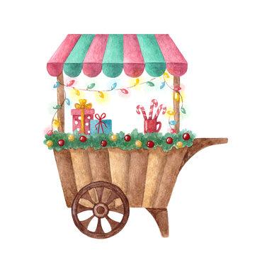 Shopping cart watercolor 1