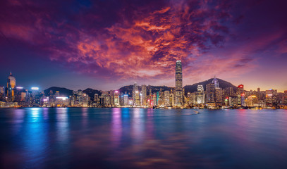 Fototapete - Long exposure photography of Victoria Harbor in Hong Kong