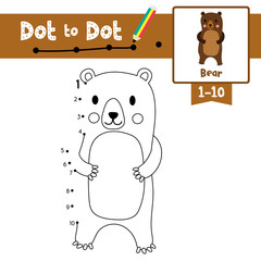 Dot to dot educational game and Coloring book Standing Bear animal cartoon character vector illustration