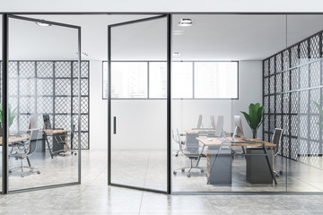 White and metal open space office interior