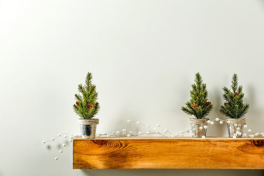 Wooden shelf of free space for your decoration and christmas tree.