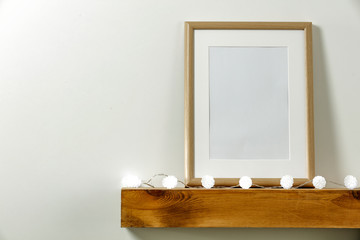 Wooden shelf of free space and christmas composition.