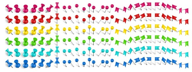 Colorful pushpin, pin flag and thumbtack. Color location mark pin, red flags and realistic pins vector set. Stationery items. Plastic paperwork and sewing accessories. Collection of needles