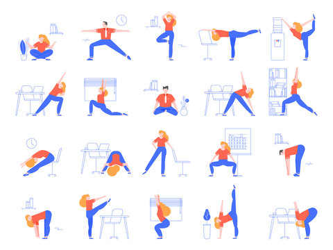 Office yoga exercises. Fitness and yoga workout for office workers, relaxing and stretching in office space vector illustration set. Asana practice at workplace. Meditation, zen, healthy lifestyle