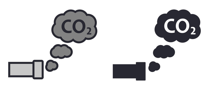 Car exhaust with CO2 pollution cloud icon