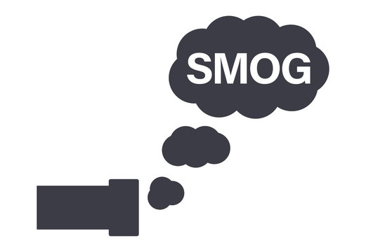 Car exhaust with smog pollution cloud icon