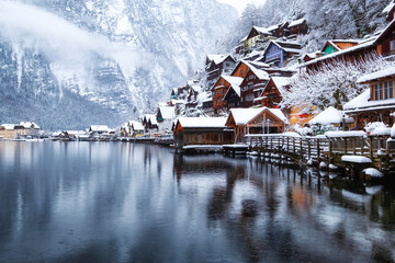 Hallstat village in the Austria. Beautiful village in the mountain valley near lake. Mountains...