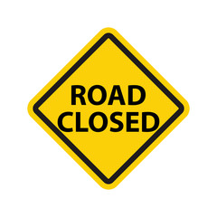 Yellow road closed signs vector illustration