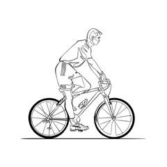 Man riding a bike, continuous line art