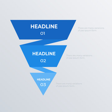 Hierarchical infographics template design. Business concept infograph with 3 options, steps or processes. Vector visualization can be used for workflow layout, diagram, annual report, web