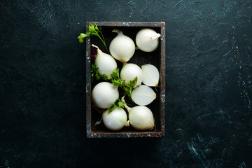 Fresh ripe white onions on black background. Top view. Free copy space. Wall mural