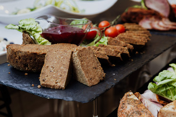 close up on pate with cranberry
