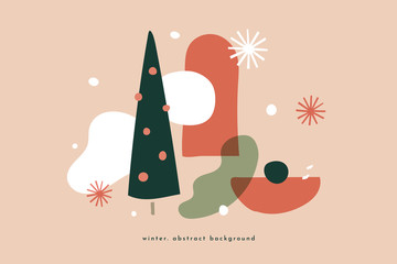 Modern christmas picture with abstract shapes christmas tree. Trendy colorful pictures in a flat style. Can be used for wrapping paper design, holiday packaging. Vector illustration.