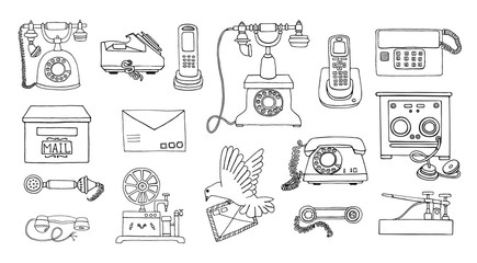 Vector vintage means of communication line drawing set. Retro black and white collection of wired rotary dial telephone, radio phone, telegraph, receiver, pigeon post, letter, stamps.