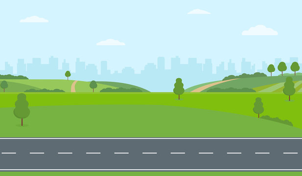 Straight empty road through the countryside on city background. Green hills, blue sky, meadow. Summer landscape vector illustration.