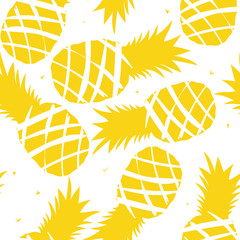 Exotic fruits, hand drawn overlapping background. Colorful tropical wallpaper vector. Seamless pattern with pineapples. Decorative colored illustration, good for printing